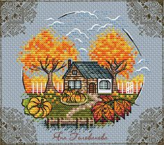 Fall Cross Stitch, Cross Stitch House, Cross Stitch Tree, Simple Cross Stitch, Cross Stitch Samplers, Cross Stitch Flowers, Cross Stitch Charts, Cross Stitch Designs, Cross Stitching