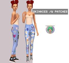 High Waisted Skinnies /w Patches by Twinksimstress.