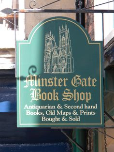 Minster Gate Bookshop, York. Extensive stock of antiquarian and second-hand books is housed over five floors of a Georgian town-house and covers most subject areas. Minster Gates formed the entrance to the medieval precinct of York Minster, and is a street which has been associated with books and bookselling since 1580 and was formerly known as Bookland Lane.