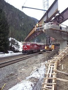 As part of the Clanwilliam Bridge rebuild, crews installed girders over the railway on April 18, 2012. The bridge is located just west of Revelstoke on Highway 1. #BCHwy1 #Revelstoke #BC