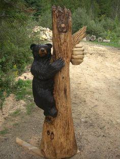 Bear carving by Jim Menken in Ontario, Canada