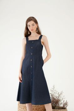 Button Denim Dress - Dresses - Clothing - Shop - Cloth Inc Denim Jumper, Casual Dresses, One Piece, Buttons, My Style, Clothing, How To Wear, Outfits, Shopping
