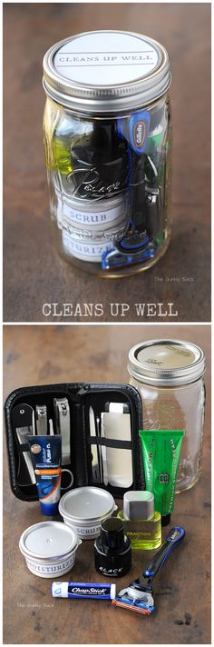 Cleans Up Well Pampering Gift In A Jar for men. Includes skin care recipes and printables! #giftsinajar #masonjar