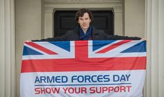 Actor Benedict Cumberbatch shows support for Armed Forces Day during filming of crime drama Sherlock at Wellington Barracks, London, in Sherlock Series 3, Bbc Tv Series, Sherlock John, Sherlock Holmes, Benedict Sherlock, Benedict Cumberbatch, Louise Brealey, Benedict And Martin, Mrs Hudson