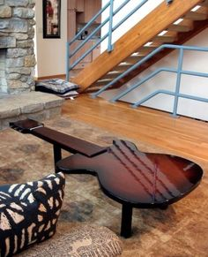 High lacquer guitar table... now where are the pick-shaped coasters??