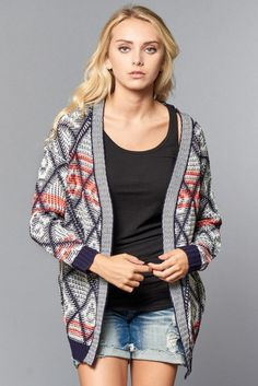 Long Sleeve Printed Knit Cardigan - Purchase this now at kyootklothing.com!