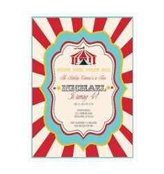Set the tone for your extravagant, circus themed bash with Circus Carnival Invitations calling guests to the greatest show on Earth. These vibrant invitations feature bold hues and a welcoming circus