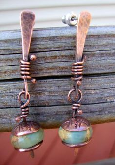 Hammered and wire-wrapped copper earrings. Gorgeous!!