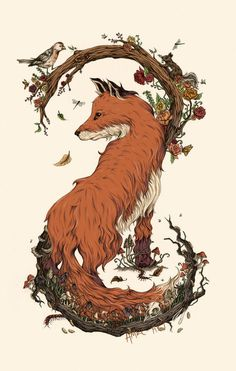 "amrc-art: "" Cyclical 2014 Pen and ink/digital colors As promised, here is my illustration concepts homework/detail shots! Fox Illustration, Illustrations, Fuchs Baby, Fox Drawing, Fox Tattoo, Fox Art, Cute Fox, Spirit Animal, Painting Inspiration"