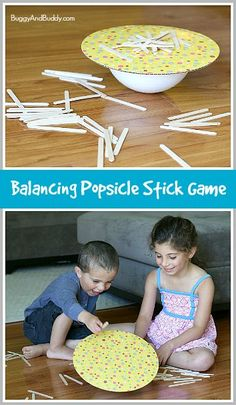 Learn all about counting and letter formation while exploring the science of physics! (Homemade Popsicle Stick Balancing Activity) ~ Buggy and Buddy