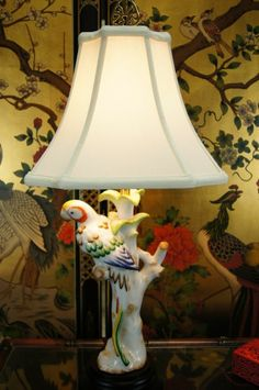 """Hand Made Painted Porcelain Figurine Table Lamp 24""""H"""