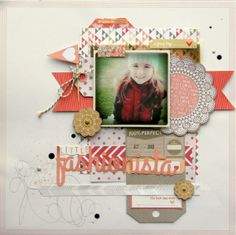 Fashionista - Two Peas in a Bucket / like the printed paper inside the doily, the chevrons, the colors….