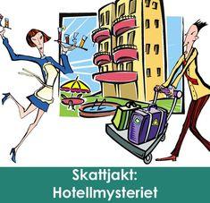 Ordna mysteriekalas och låt barnen lösa det  spännande Hotellmysteriet! Hotellchefen Georg Gästfri behöver barnens  hjälp att sätta stopp för en klåfingrig tjuv som härjar på hotellet. I  en spännande skattjakt ska barnen lösa gåtor, hitta de försvunna sakerna  och dessutom samla ledtrådar till vem tjuven är. Du förbereder och  genomför enkelt skattjakten - barnen tycker det är superkul! #skattjakt #kalas #barnkalas #lekar Comic Books, Comics, Cover, Inspiration, Ska, Biblical Inspiration, Comic Book, Comic Book, Blankets