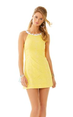 The Annabelle is a lovely eyelet shift. Both color ways are perfectly happy. The yellow shift dress can be worn to a number of events. The white is the perfect dress for a bridal shower, or even on vacation. It's feminine and fun just like you.