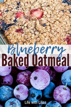 This blueberry baked oatmeal is so yummy and healthy. I love to make this for breakfast meal prep and my kids love it, too! Yogurt Breakfast, Breakfast Pancakes, Breakfast On The Go, Breakfast Recipes, Old Fashion Oats, Baked Oatmeal Recipes, Blueberry, Snacks, Healthy Baking