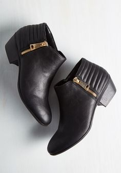 Screening is Believing Bootie. Date night means a foray to the film festival - and the perfect opportunity to sport these black booties! #black #modcloth