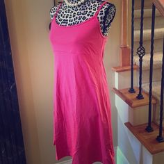 Athleta hot pink swim cover or dress Hot pink spandex swim cover up with shelf bra or can be used as a dress also. No padding in bra. Athleta Dresses Midi