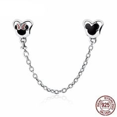 Genuine 925 Sterling Silver Minnie Mouse Safety Chain Stopper Charms Fit Pandora Charm Bracelets for Women Jewelry Sterling Silver Bead Bracelet, Silver Bracelets, Charm Bracelets, Minnie Mouse, Silver Beads, Silver Charms, 925 Silver, Pandora Bracelet Charms, Charms