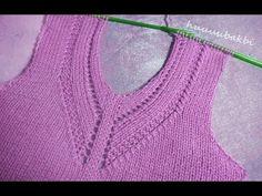 ajurlu V yaka - YouTube Knitting Videos, Knitting Stitches, Baby Knitting, Knitting Patterns, Crochet Patterns, Slip Stitch Crochet, Tunisian Crochet, Easy Crochet, Double Crochet