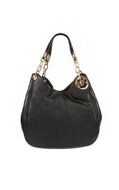 Väska Fulton LG Shoulder Tote BLACK/GOLD - Michael - Michael Kors - Designers - Raglady