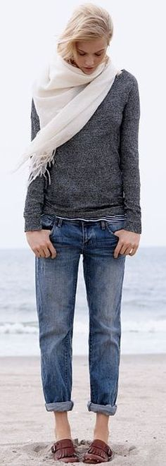 jeans + sweater.