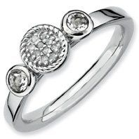 Amazon.com: 0.31ct Stackable Round White Topaz & Diamond Ring Band. Sizes 5-10 Available: Jewelry