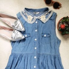 Chambray Dress with Lace Collar Bought in England. Denim chambray dress with buttons down the front. Two button pockets on either breast. Lovely lace collar with flower and pearl beading. Worn twice. Missguided Dresses Mini