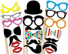 Wedding Photo Booth Props - 20 Piece Party Photo Props - Photobooth Props