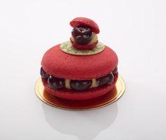 Mon Cheri - grionttines (cherries in brandy or kirsch), cream, raspberry pâte de fruit. French pastry by Gerard Dubois.