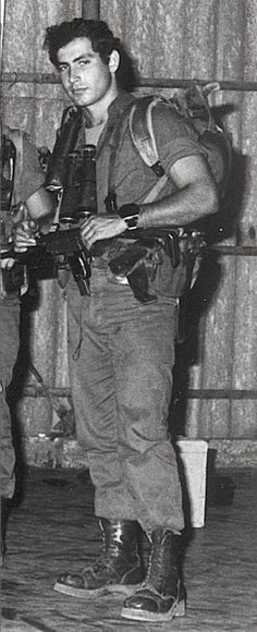 Prime Minister of Israel, Benjamin Netanyahu, he served in the IDF and led the elite Sayeret Matkal unit. In this photo you can see the legendary UZI sub-machine gun.