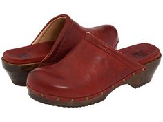 Frye Clara Campus Clog Burnt Red - 6pm.com