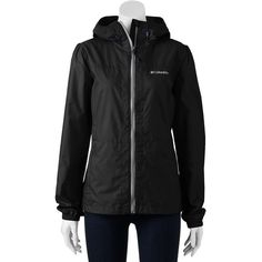 Women's Columbia Rain Dancer Hooded Jacket ($40) ❤ liked on Polyvore featuring outerwear, jackets, black, lightweight jackets, long sleeve jacket, hooded jacket, columbia and columbia jackets