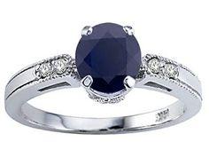 Tommaso Design Genuine Black Sapphire Engagement Ring