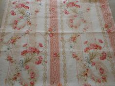 Antique French Floral Wreath Ribbon Lace Carnation Cotton Fabric ~ Apricot Pink