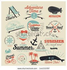 Retro elements for Summer calligraphic designs | Vintage ornaments | All for Summer holidays | tropical paradise, sea, sunshine, weekend tour, beach vacation, adventure labels | vector set by Noka Studio, via ShutterStock