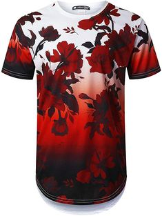 Amazon.com: URBANTOPS - Camiseta de manga larga para hombre, diseño floral, S: Clothing Mens Printed Shirts, 3d T Shirts, Formal Shirts For Men, Casual Shirts, Hype Clothing, Rose T Shirt, Mens Fashion Sweaters, Men Style Tips, Mode Style