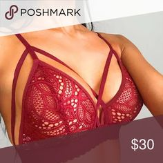 🆕Sexy Red Bralette Elastic straps. Full coverage cups. NO TRADES (G130) Quinn-Tessential Desires Intimates & Sleepwear Bras
