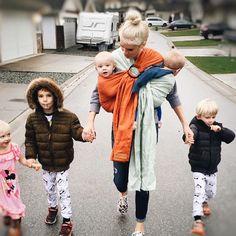 Super mom in Wildbird ring slings. Baby carrier