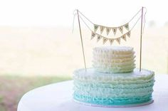 Just Married Wedding Cake Topper Banner with Custom Color Glittered Hearts, bakers banner on Etsy, $27.00