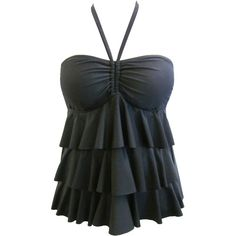 27bf14e23c9 Catalina - Catalina Women s Plus-Size Tiered Ruffle Bandeau Tankini Swimsuit  Top with Bra Cups - Walmart.com