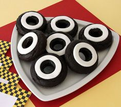 Chocolate Whitewall Donuts for a Cars Party Race Car Birthday, Race Car Party, Skate Party, 3rd Birthday, Birthday Ideas, Disney Cars Party, Disney Cars Birthday, Car Themed Parties, Cars Birthday Parties