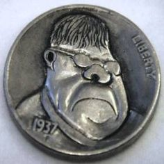 JON DAKE - FARSIDE CHARACTER - 1937 BUFFALO NICKEL Buffalo, Classic Style, Coins, Carving, Animation, Cartoon, Artist, Character, Rooms