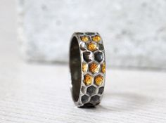 Silver honeycomb ring with gold honey details - made to order
