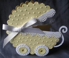 Lemon-Baby-Carriage, how simple?  scallop circles which are embossed, etc.  cute!