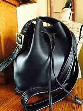 VTG COACH Black Leather Drawstring Bucket Purse Bag Cross Body Legacy Large GUC