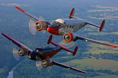 Two Twin Beech 18 Us Navy Aircraft, Ww2 Aircraft, Bush Pilot, Propeller Plane, Airplane Flying, Old Planes, Air Space, Vintage Airplanes, Commercial Aircraft