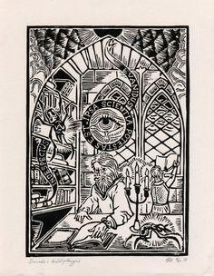 "Original Linoprint art alchemy magic history Linocut scarab spider insect library supernatural ""Scarabus bibliophagus"" 4/50 ed Preaterlimina"