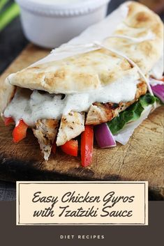 Quick Greek-style chicken gyros you can whip up on busy nights in just 20 minutes, these are a family favorite! If you love Greek food,. Easy Chicken Gyros With Tzatziki Sauce, Chicken Gyro Recipe, Mediterranean Seasoning, Mediterranean Recipes, Greek Recipes, Diet Recipes, Greek Style Chicken, Best Sandwich Recipes, Healthy Meals