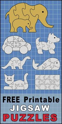 FREE printable DIY jigsaw puzzle patterns, stencils, and templates. Use your scroll saw, Cricut, or Silhouette to create HOMEMADE puzzles . Awesome Woodworking Ideas, Woodworking For Kids, Woodworking Patterns, Woodworking Workshop, Woodworking Classes, Woodworking Plans, Woodworking Projects, Popular Woodworking, Woodworking Shop