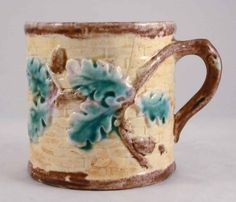Antique+Etruscan+Majolica+Mug+Acorn+Pattern+with+Handle+Lavender+Interior+